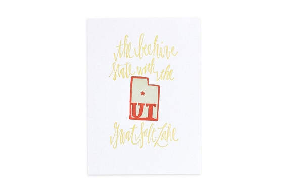 Utah Letterpress State Print // 1canoe2 // Hand illustrated