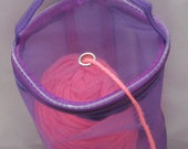 "Dafi© Long Purple Yarn Case, Yarn Storage Basket, Knitting Yarn for On-the-go-knitter and Traveling - size: Medium - 32cm (12 1/4"") long"