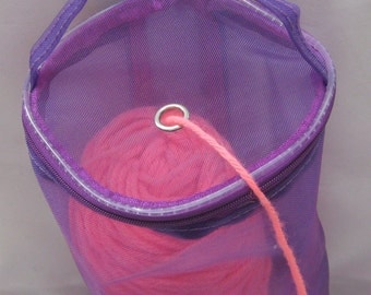 "SALE Dafi Long Purple Yarn Case, Yarn Storage Basket, Knitting Yarn for On-the-go-knitter and Traveling - size: Medium - 32cm (12 1/4"") long"