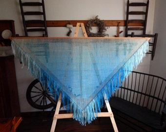 6 Foot Hand Woven Triangle Shawl 100% Wool OOAK
