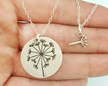 Mother Daughter Necklace Set Jewelry - Dandelion Necklace - Best Friends Necklace - Ready to Ship