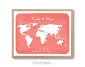World Map, Watercolor Print, Map Art, Travel Map, Wedding Gift, Anniversary gift, World map wall art, Love Sign