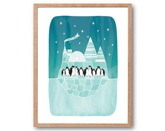 Nursery Print, Penguins South Pole Art Print, Penguin Print, Baby Penguin, Baby Animal, Wall decor, Animal Print, Children's Book Art