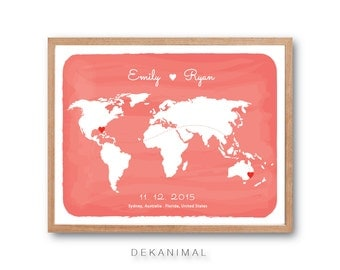 World Map, Watercolor Print, Map Art, Travel Map, Wedding Gift, Anniversary gift, World map wall art, Love Sign