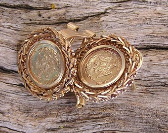 Vintage Miniature Gold Plated Coin Replica 1821 50 Mexican Pesos on Solid 14K Tri-Color Gold Bezel Earrings