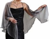Promo Sale Silver Grey Silk Chiffon Shawl