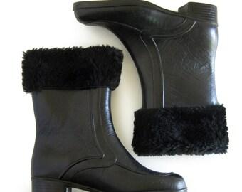 Mod 60's Women's Snow Boots - Faux Fur Tops - Faux Fur Lined - Black Rain Boots / Dead Stock / Size 7