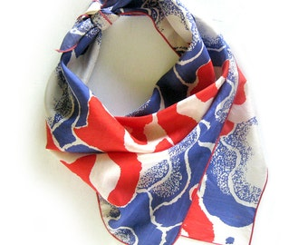 Vintage Silk Scarf - Mod Red and Blue Abstract Floral Print - Silk Scarf with Rolled Hem