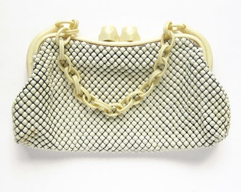 1950s Vintage Whiting and Davis Mesh Bag Purse with Chunky Chain Handle and Clasp / Ivory Metal Mesh / Designer Evening Bag