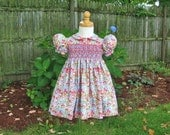 Size 1T, hand smocked dress, Rose and blue flowers, Toddler girl, Ready to ship, special occasion, OOAK, Easter dress, birthday, heirloom,