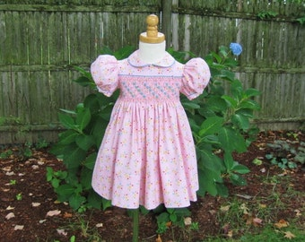 Girl Toddler, Pink floral, smocked dress, Size 1T, Ready to ship, Colorful flower, Easter dress, whimsical, OOAK, Heirloom, Special occasion
