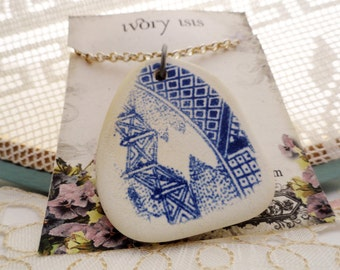 """Blue Willow Plate Shard Necklace on Silver 24"""" Chain"""