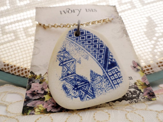 "Blue Willow Plate Shard Necklace on Silver 24"" Chain"