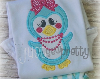 Cute Prissy Penguin Girl Embroidery Applique Design