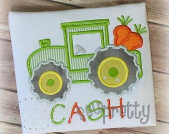 Tractor with Carrots Embroidery Applique Design
