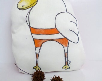 SALE Dodo red accent bird pillow, marked down 50%, original illustration, stuffy, home decor, kids room decor