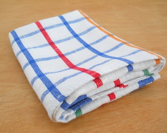 Vintage Linen Kitchen Towel • Striped Checked Dish Towel • Linen Rayon Cotton Primary Color Tea Towel