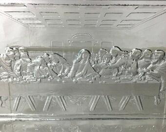 1880s The Last Supper Glass Serving Platter, Victorian Era Dining Decor