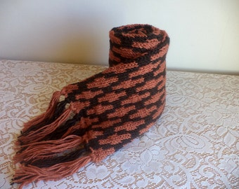 Handknit Traditional Scarf, Winter Gift, Orange and Brown, Burnt Orange and Cocoa, Lattice Pattern, Two Tone, Machine Washable, Fringed
