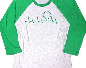 Cute St Patrick's Day Shamrock Shirt. EKG shamrock. Gift for Irish Nurse. Kiss me Shirt.Lucky Shirt. Shamrock. Party shirt. St Pattys RN tee