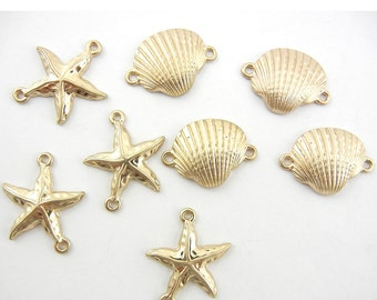9 Small Marine Shell and Starfish Charms Double Link Gold-tone