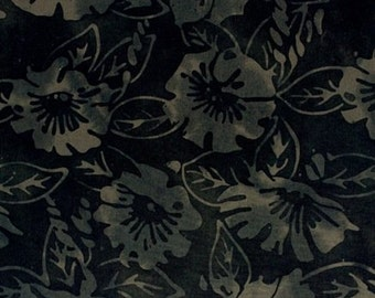 NEW - One yard - Black Morning Glory Batik - 9187