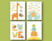 Nursery Decor You are My Sunshine Orange green and yellow kids room decor baby nursery love turtle giraffe birds elephant Set of four prints