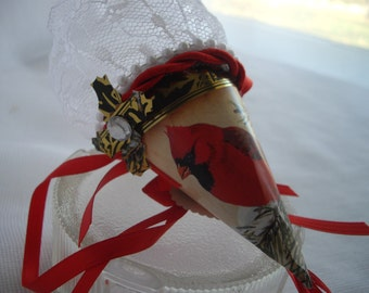 Red and Gold Victorian Inspired Small Cardinal Tussie Mussie Cone Recycled Paper Trinket Gift Box For Chocolates Hand Made by Handcraftusa