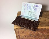 Brown faux snake skin leather passport cover