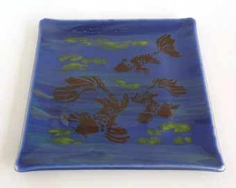 Blue Streaky Fused Glass Plate with Koi Pond Decor