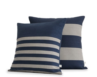 Striped Decorative Pillow Cover Set of 2 in Navy and Natural Linen by JillianReneDecor - Modern Home - Stripe Pillows (20x20) and (18x18)