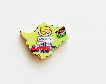 1960s Cheshire England Brooch - Pin / Unique Wearable History Gift Idea / Upcycled Vintage Wood Jewelry / Timeless Gift Under 25