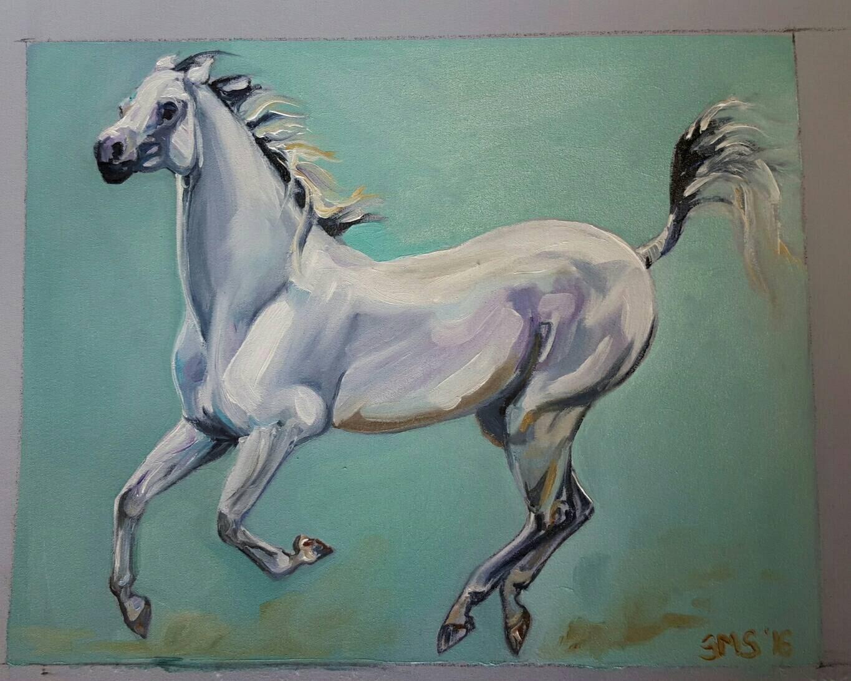 White Arabian Horse artwork Horse Oil painting Running