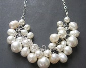 Pearl Statement Necklace, Pearl Necklace, Wedding Jewelry, White Pearl Necklace