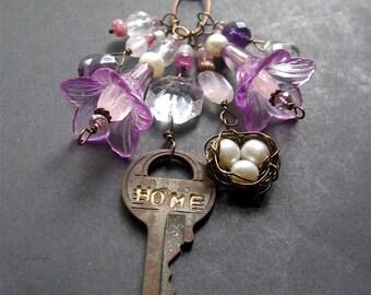 Long Boho Charm Necklace, Long Copper Key Necklace, Flower Necklace, OOAK Necklace
