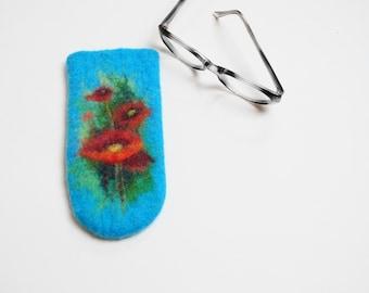 Felted Eyeglass Case. Poppy