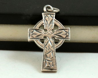 Antique Cross Pendant, Celtic Cross, English Sterling Silver, Edwardian Pendant, Cross Necklace, Engraved Cross, Birmingham 1901, Vintage