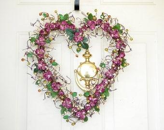 Plum Heart Wreath Fall wreath Heart shaped wreath for Fall Purple Plum wreath Year round decor Front door wreath