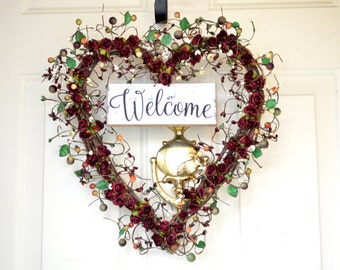Welcome Heart wreath -  year round front door decor -  Christmas gift - Heart Wreath - Hostess gift