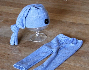 Upcycled Blue Plaid Pants Hat Newborn Size RTS Photography Prop