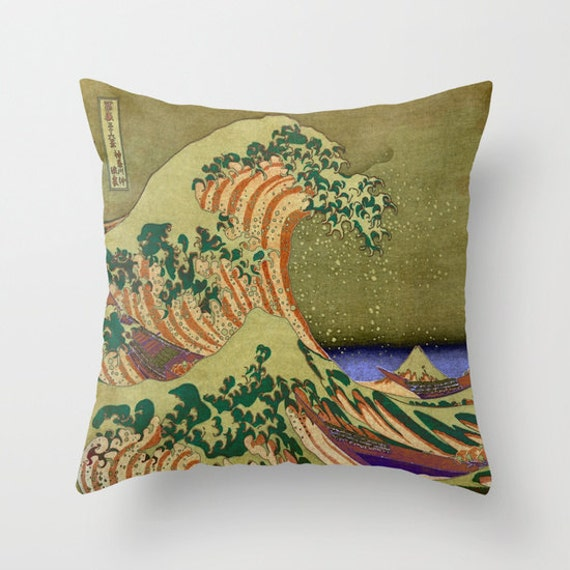 Version Of The Great Wave Off Kanagawa Throw Pillow, dorm Decorative Pillow, Office Pillow, Office Decor, olive green, ocean wave, sea