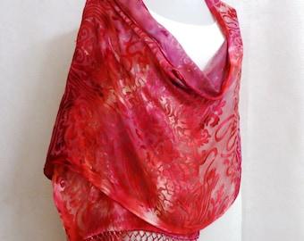 Hand-dyed Silk Shawl - Scarf - Silk Rayon Shawl, Silk Rayon Scarf - Pink Silk Shawl, Pink Silk Scarf, Silk Shawl, Silk Scarf - #SSH-16-1