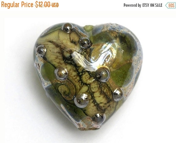 ON SALE 50% OFF Green w/Silver Foil Heart Focal Bead - Handmade Glass Lampwork Bead 11813905