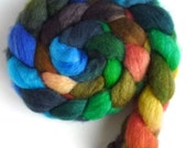 BFL Wool Roving - Hand Painted Spinning or Felting Fiber, Hiding in the Corner