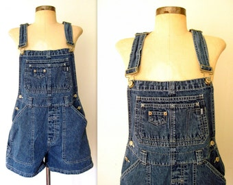 90s Overalls / Blue Jean Overall Shorts / Blue Jean Bibs / Blue Jean Denim Onesie