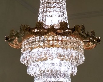 Chandelier, Antique Crystal Empire Chandelier, Petite Crystal Waterfall Chandelier, Home Decor, Antique Lighting