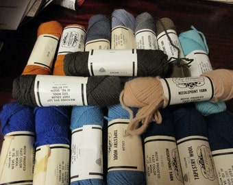 Mixed Lot of 17 Skeins of Elsa Williams Tapestry Wool Needlepoint Yarn