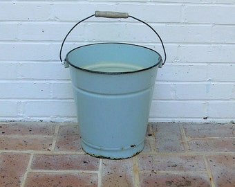 Antique Vintage Enamelware Bucket With Wooden Handle Antique Vintage Enamelware Berry Bucket Pail