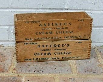 Vintage Wooden Cheese Box Vintage Wood Crate Axelrod's Cream Cheese Box Dovetail Corners