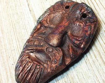 249. Anglo Saxon Inspired Raku Mask  Purple Copper Gold Rust Earthenware Pendant